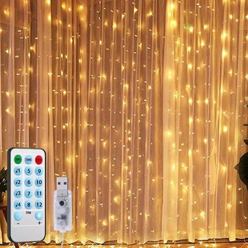 Imagen 1 de 7 de Cortina 300 Luces Led 3x3mts Decoración Cálida Y Fría Clic