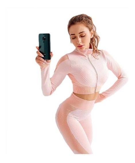 Conjunto Deportivo Legging-top(chamarra Cierre Premium Mujer