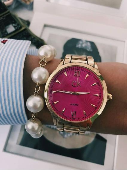 Relógio Ck Dourado Com Rosa.