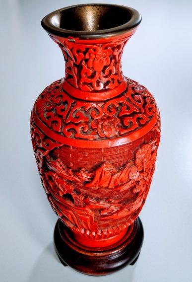 Jarrón Florero Laca China Cinnabar Rojo Mediano Antiguo 70