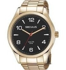 Relógio Masculino Dourado Fundo Preto Analógico 28974gpsvda3