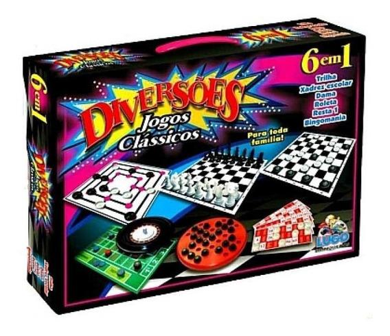 Diversões Jogos Clássicos 6 Em 1 Xadrez Damas Trilha Bingo