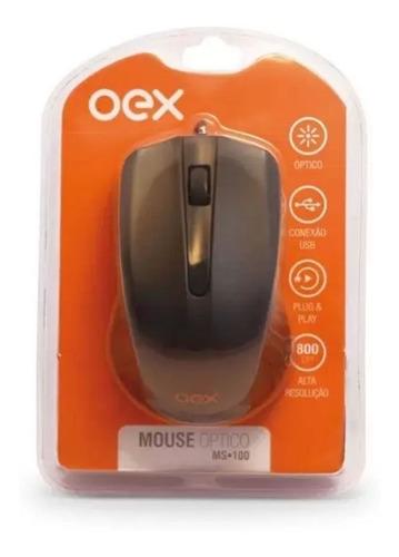 Imagem 1 de 3 de Mouse Com Fio 1000 Dpi Oex Ms100 - Preto