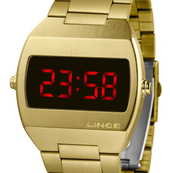 Relógio Lince Feminino Mdg4620l Vxkx Digital Led Dourado Nf