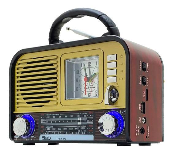 Rádio Retrô Am Fm Sw Bluetooth Recarregável Mp3 Aux Sd Usb