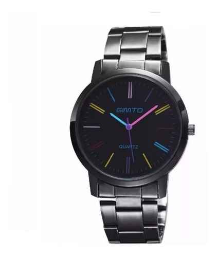 Relógio Feminino Aço Metal Cromado Preto  Colorido Gimto