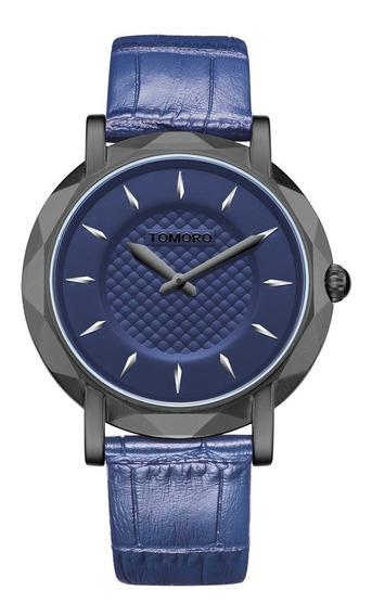 Relógio Masculino Pulso Azul Tomoro Couro Barato Promoção