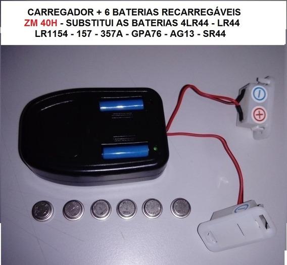 Carregador+6bateria Recarr. Ni-mh Substitui Lr44 Ag13 Sr44