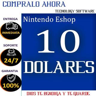 Eshop Nintendo 10 Usd 3ds Wii U Switch Codigo
