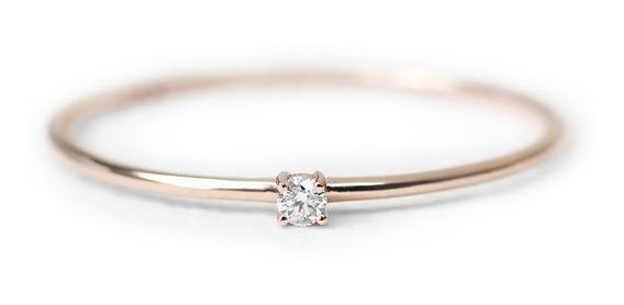 Anel Ouro Diamante Aparador Solitário Noivado Casamento Joia