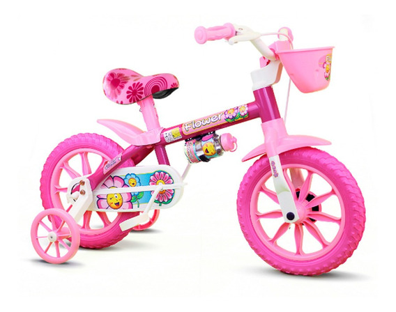 Bicicleta Infantil Nathor Aro 12 Flower Rosa Selim Em Pu