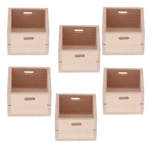 6 piezas 1//12 casa de muñecas en miniatura de madera caja de almacenamiento