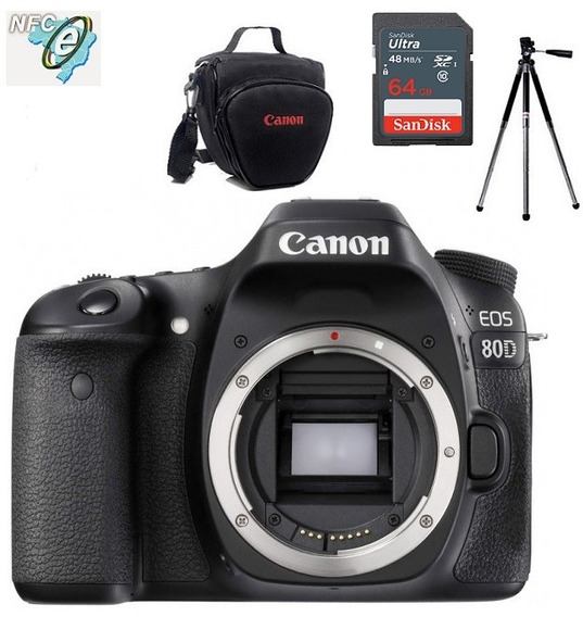 Canon Eos 80d Corpo + Bolsa+tripé+64gb Nota Fiscal