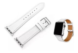 Pulseira Hermes Single Tour Couro Apple Watch 42mm Branco