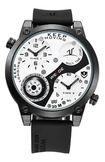 Relógio Masculino Weide Analógico Uv-1505 - Preto E Branco
