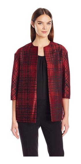 Anne Klein Fino Blazer Abrigo Saco De Brocado Rojo. Talla S