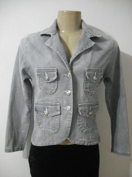 Casaco Jeans Cinza Com Strech Tam P Adição Usado Bom Estado