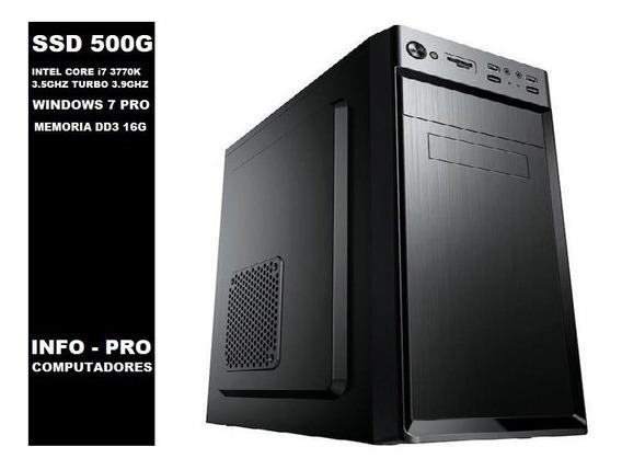 Computador Pc I7 Intel Core 3770k + Ssd 500g + 16gb + Win 10 Ppromoção!!!