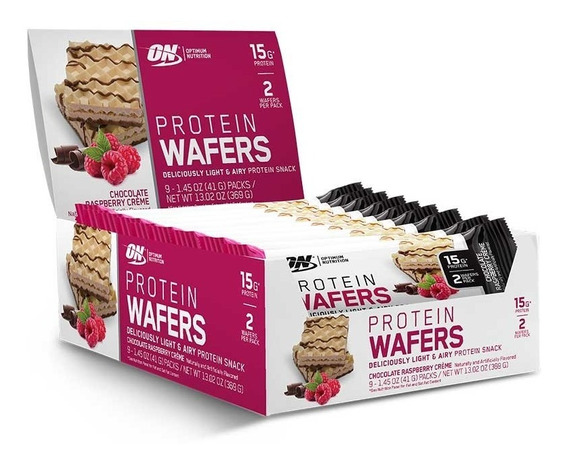 Wafers De Proteína Optimum Nut Sabor Chocolate Con Frambuesa