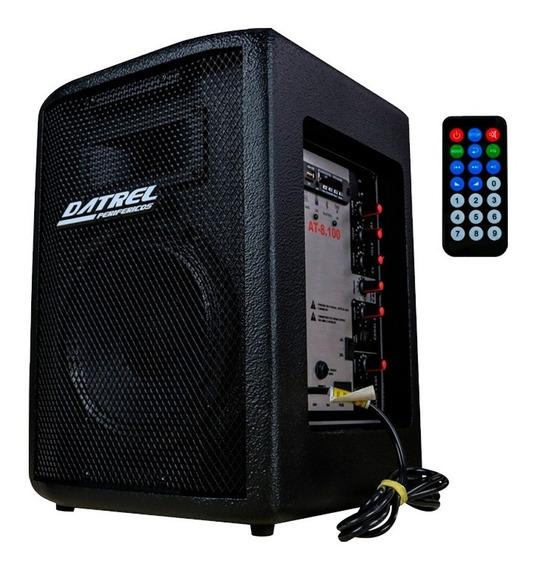 Caixa Som Ativa 100w At8-100 Datrel Bluetooth Usb Controle