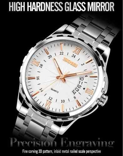 Relógio Skmei Masculino Luxo Quartzo Aço Inoxidável