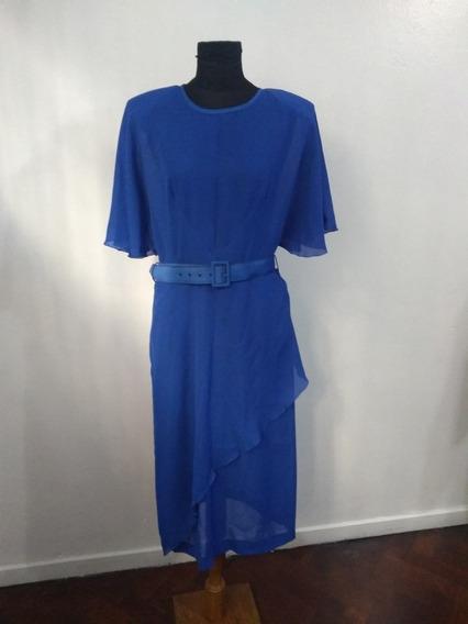 Vestido De Fiesta De Gasa Azul Con Cinto