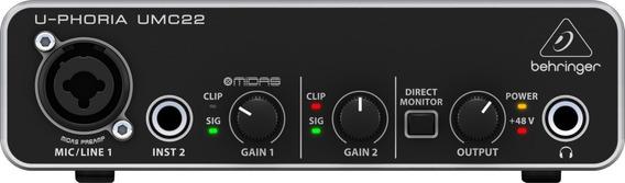 Interface De Áudio Behringer U-phoria Umc22