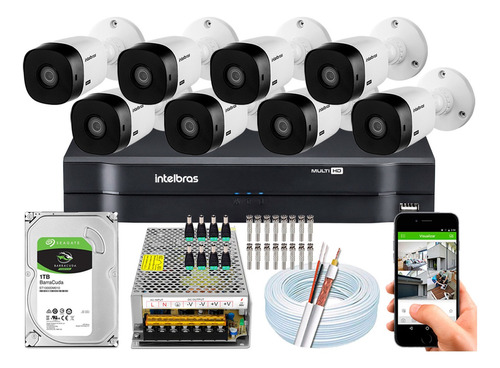 Kit 8 Câmeras 1220b Intelbras Full Hd 1080p 20m 2mp 1108 8ch