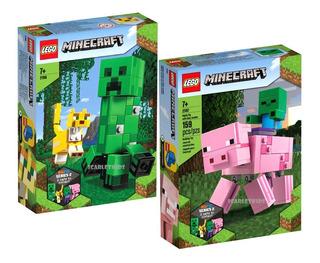 Lego Minecraft Creeper + Ocelote 21156 Pig + Zombie 21157