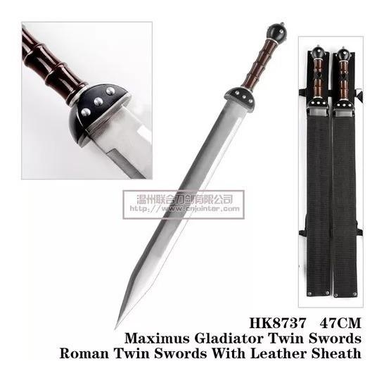 Espada Maximus Gladiador Romano C/com Duas C/ Suporte 47cm