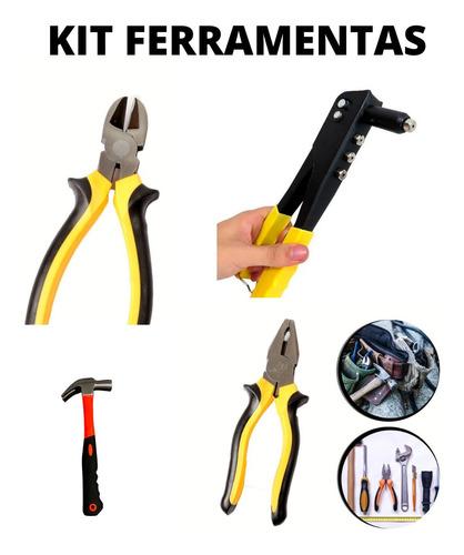 Kit Conjunto Ferramentas Martelo Rebitadeira Alicate Univer