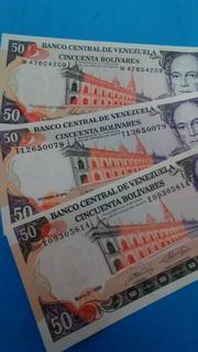 Excelente 12 Billetes 50 Bolivares 1998,1992, 1990 Consec