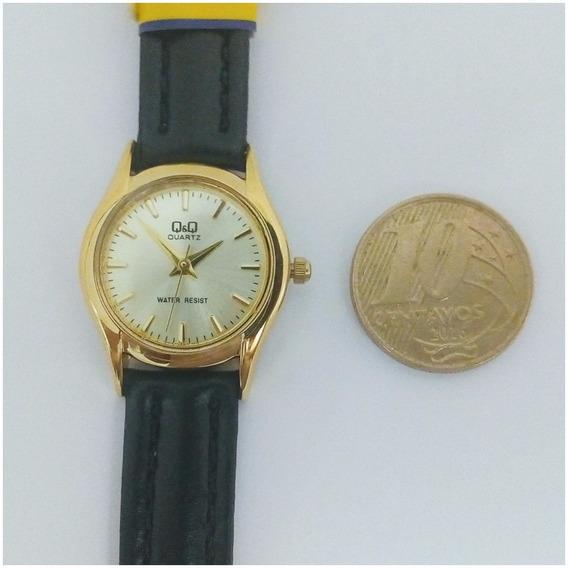 Relógio Feminino Qq By Citizen Dourado Original Pulso Couro