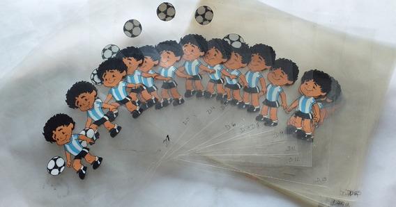 Maradona Acetatos Celuloide Animacion Originales Década 80