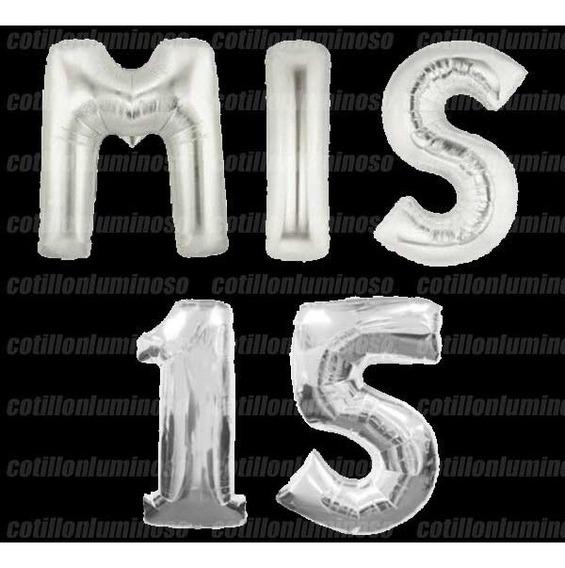 Combo - Mis 15 - Globos Letras Metalizado Plata 35cm