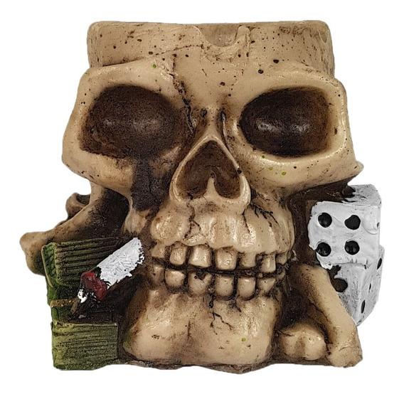 Crânio Caveira Cinzeiro Dado Decorativo Em Resina Skull