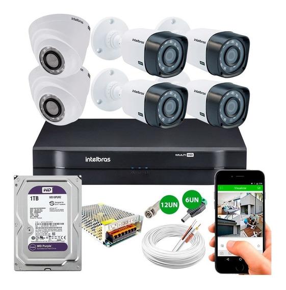 Dvr Intelbras Mhdx 1108 + 6 Cameras Segurança Hd 720p 1tb