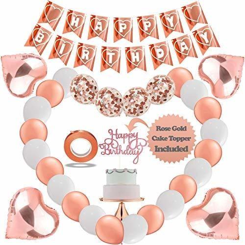 Imagen 1 de 7 de Ktduo - Kit De Decoracion De Cumpleaños De Oro Rosa Para M