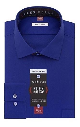 Camisa De Cuello Amplio Estampado Solido Con Cuello Flexible
