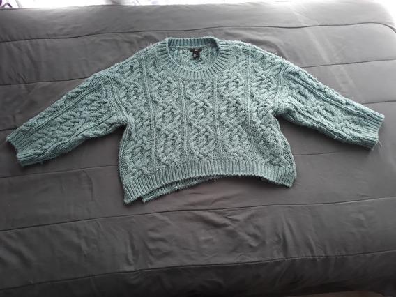 Sweater Corto Para Dama H & M Color Azul De Acrílico Y Lana