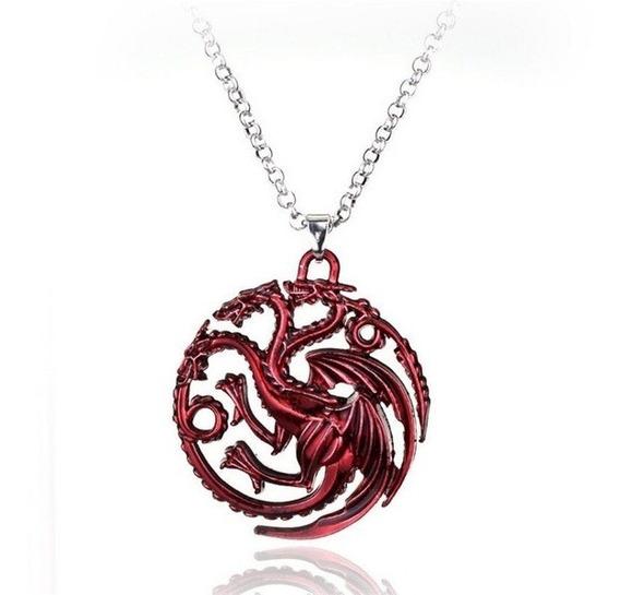 Colar Pingente Casa Targaryen Dragões Game Of Thrones
