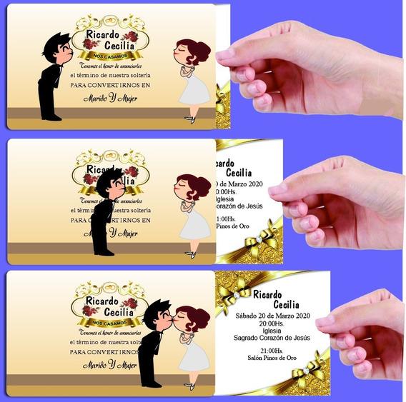 Invitaciones Tarjetas Casamiento Boda Quince Años X 40und.