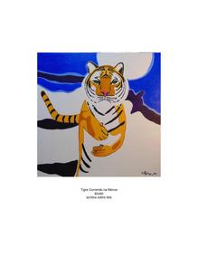 Tela 60x60 Tigre Correndo Na Névoa Pintura Em Acrílico