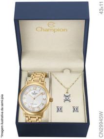 Relógio Champion Kit Feminino Aço Brinde Semijoia Cn29945w