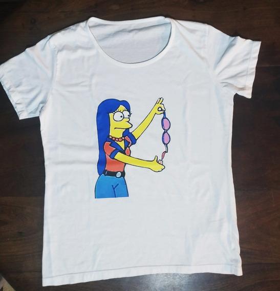 Remera Marge Simpson Mujer Blanca Todos Los Talles Cuotas