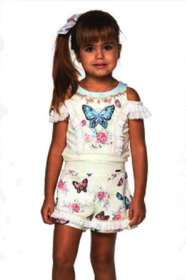 Kukixo Conjunto Infantil Feminino Festa Short 4 6 8 Anos