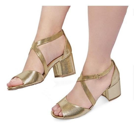 Zapatilla Dama Mujer Moda Dorado Tacon 6cm Tipo Piel Comodo
