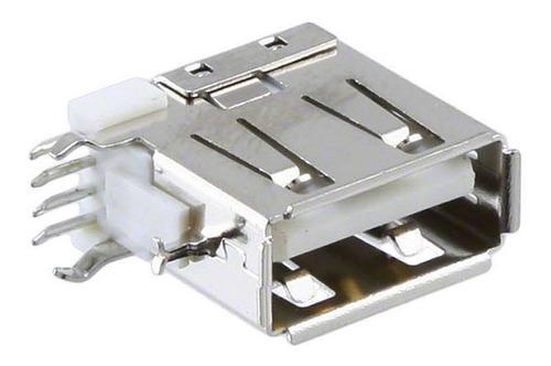 Imagem 1 de 3 de 5 Pçs Conector Usb A Fêmea Vertical E Terminais Laterais