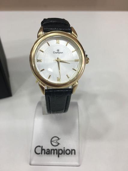Relógio De Pulso Champion Ch24071 Dourado E Branco Couro