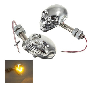 Pisca Skull De Led Para Motos,custom,chopper, Bobber,street.